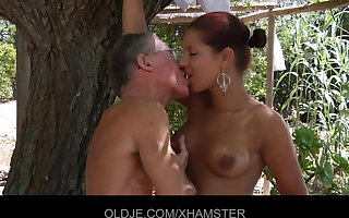 Sexy Benefactor Rivas sucks 2 old cocks and then get ass thing embrace