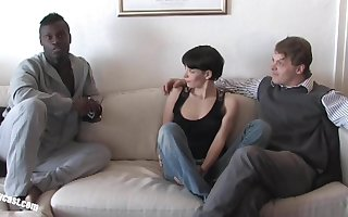 Pia Sofie's first ebon cock space fully her cuckold is watching