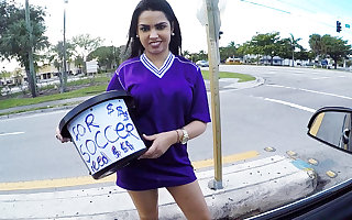 Obese Tits Latina Teen Fucked Unconnected with Stranger In Car Be worthwhile for Cash POV