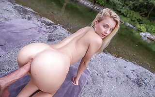Hot Young Petite Blonde Teen Fucked Out like a light Hiking POV