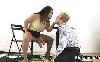 Nymphos penetrate boyfriends botheration hole with big strapon dildos with an increment of burst jism