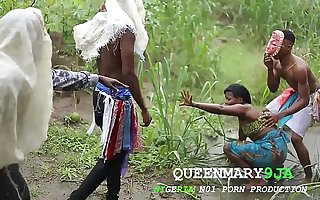 Somewhere with reference to Africa, a maiden who went to the farm on a village's cultural day got fucked ruthlessly at the end of one's tether three masquerades