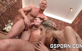 Bisexual trio with two hot guys and a sexy milf