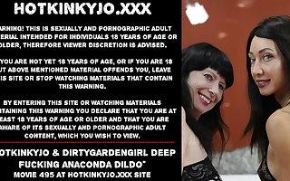 Hotkinkyjo & Dirtygardengirl, deep fucking with anaconda dildo