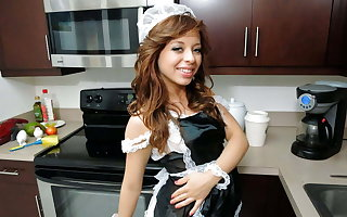 Petite Young Latina Teen Maid Fucked By Big Learn of Customer