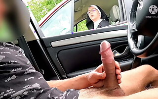 I worm out my cock on the roadway area, this nun is shocked