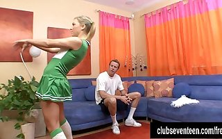 Pigtailed cheerleader relating to cock