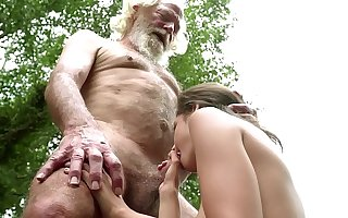 70 year old grandpa fucks 18 year old comprehensive moans with pleasure and swallows