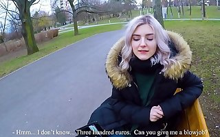 Cute teen swallows hot cum for cash - extreme public blowjob overwrought Eva Elfie