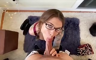 Felicity feline blowjob and fucks with pigtails and glasses