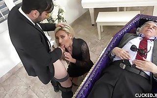 Grieving Kirmess Widow Blows and Fucks Stiff Dick Next to Cuckolded Husband