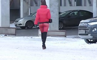 Peppery Tights. Jeny Smith dethrone walking in tight seamless red pantyhose (no panties)