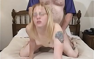 Nerd is sucking  and fucking the cock