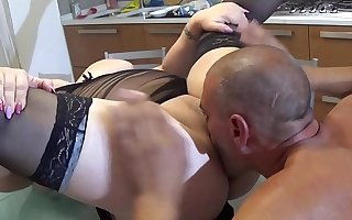 Italian well-endowed mom Pamela fucked close by the kitchen