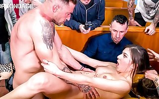 FORBONDAGE - Romanian Teen Anya Krey Has Sex In A Public Restaurant There A BDSM Group Agony Party
