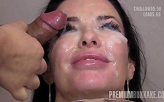 Munificence Bukkake - Veronica Avluv swallows 66 huge gnaw cum oodles