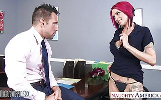 Left-wing haired office babe Anna Bell Peaks fucking