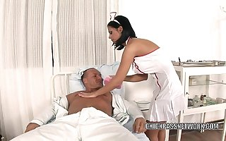Slutty nurse Sulky Angelika fucks around the hospital bed